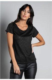 T-Shirt GLITTER Femme W18113W (37367) - DEELUXE