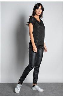T-shirt T-SHIRT GLITTER Woman W18113W (37368) - DEELUXE-SHOP