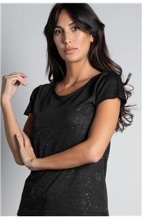 T-Shirt GLITTER Femme W18113W (37371) - DEELUXE