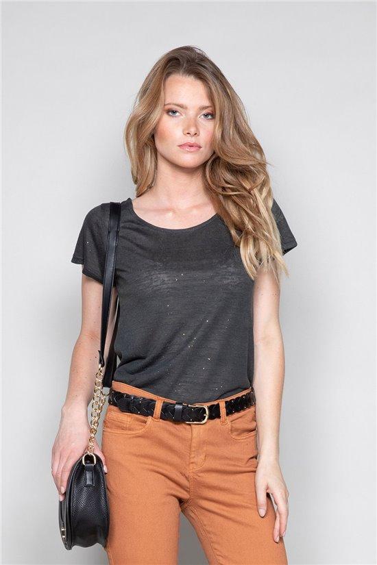 T-shirt T-SHIRT GLITTER Woman W18113W (37372) - DEELUXE-SHOP