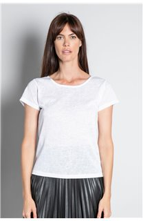 T-shirt T-SHIRT GLITTER Woman W18113W (37385) - DEELUXE-SHOP