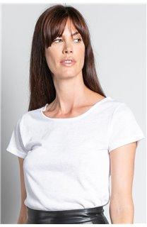 T-shirt T-SHIRT GLITTER Woman W18113W (37386) - DEELUXE-SHOP
